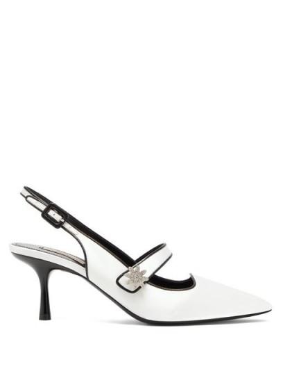 FABRIZIO VITI Davis crystal-daisy satin Mary-Jane pumps in white / luxe Mary Janes