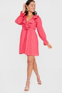 IN THE STYLE DEEP PINK BRODERIE FRILL PLUNGE SKATER DRESS