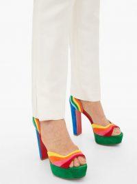 CHRISTIAN LOUBOUTIN Degratissimo 130 rainbow-suede sandals – vibrant platforms