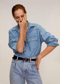MANGO MIREIA Denim shirt medium blue