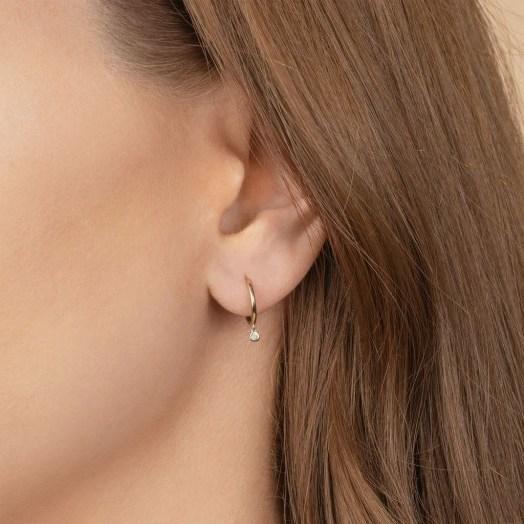 THE LAST LINE DIAMOND BEZEL DROP SEAMLESS HOOP | tiny single drops - flipped