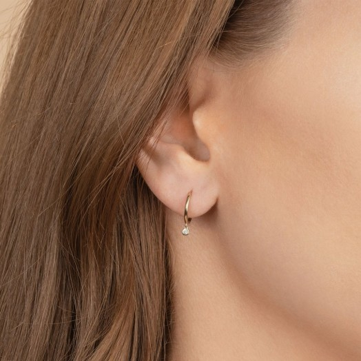 THE LAST LINE DIAMOND BEZEL DROP SEAMLESS HOOP | tiny single drops