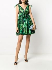 DOLCE & GABBANA Flocked Leaf print pleated dress
