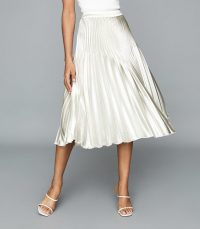 REISS DORIE PLEATED MIDI SKIRT SILVER