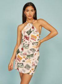 REFORMATION Dory Dress Vacaciones ~ printed halterneck mini