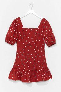 Dotta Call You Back Puff Sleeve Mini Dress Red