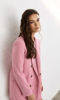 STRADIVARIUS Double-breasted blazer pale pink