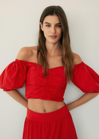 Mango VENICE Draped crop top | red ruched fitted bardot tops