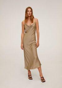 MANGO NINETIE2 Draped neckline dress khaki | cowl neck slip dresses