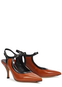 DRIES VAN NOTEN 100 brown leather slingback pumps / Mary Jane slingbacks