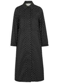 DRIES VAN NOTEN Varella polka-dot silk-blend coat / monochrome coats