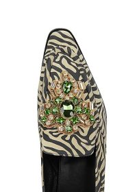 DRIES VAN NOTEN Zebra-print crystal-embellished loafers ~ green and clear crystals