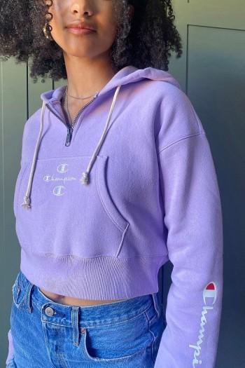 Champion Triple C Logo Lilac Cropped Crew Neck Sweatshirt