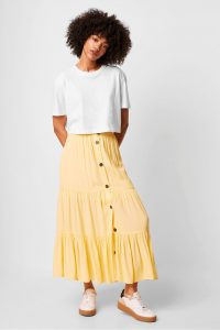 FRENCH CONNECTION EASHA DRAPE BUTTON FRONT SKIRT SUNWASH YELLOW