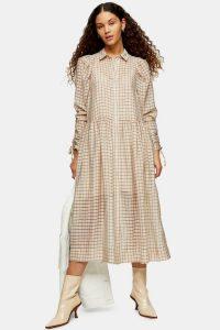 TOPSHOP Ecru Check Organza Shirt Dress / gathered sleeve dresses