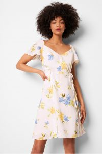 FRENCH CONNECTION EME CREPE FAUX WRAP DRESS SUMMER WHITE MULTI