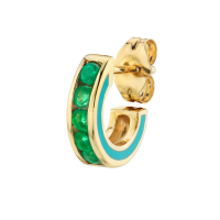THE LAST LINE EMERALD AND TURQUOISE ENAMEL CHANNEL SET HOOP   small green stone single hoops