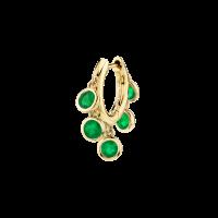 THE LAST LINE EMERALD BEZEL CHANDELIER SLIM HOOP   green stone single earrings