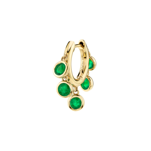 THE LAST LINE EMERALD BEZEL CHANDELIER SLIM HOOP | green stone single earrings