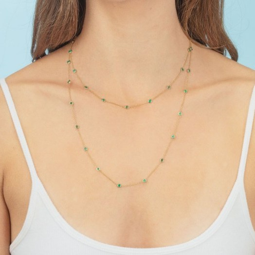 THE LAST LINE EMERALD BEZEL LONG LAYERING NECKLACE | green stone necklaces - flipped