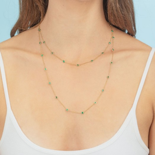THE LAST LINE EMERALD BEZEL LONG LAYERING NECKLACE | green stone necklaces