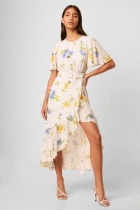 FRENCH CONNECTION EMINA DRAPE CASCADE HEM BELTED DRESS SUMMER WHITE MULTI / asymmetric occasion dresses
