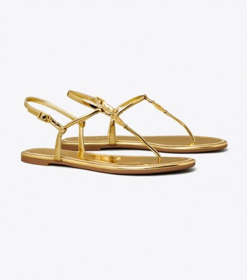 Tory Burch EMMY METALLIC SANDAL in GOLD / thin strap summer flats / flat barely there sandals