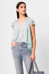 French Connection ENDRA CRINKLE FRILL V NECK TOP GLASS MINT MULTI