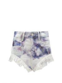ISABEL MARANT Eneida blue high-rise tie-dye denim shorts
