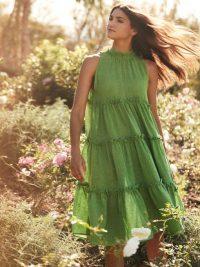 LISA MARIE FERNANDEZ Erica green tiered linen-blend midi dress