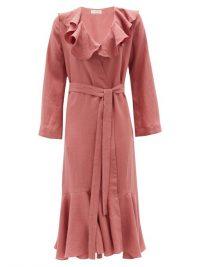 CASA RAKI Esme ruffled organic-linen wrap dress ~ pink ruffle trim dresses