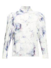 ISABEL MARANT Espera tie-dye denim top ~ high neck puff shouldered tops