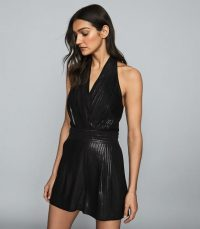 Reiss ESSIE SHIMMER HALTERNECK PLAYSUIT BLACK / evening out glamour