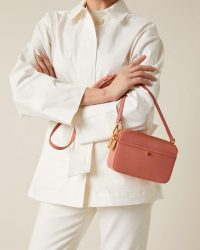 JIGSAW ESTER LEATHER CROSSBODY BAG CORAL