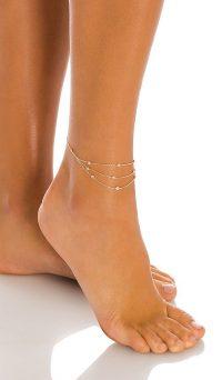 Ettika Crystal Anklet | triple chain anklets