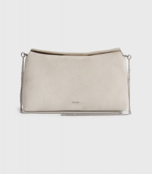 Reiss EVIE SUEDE SLOUCH CLUTCH PUTTY