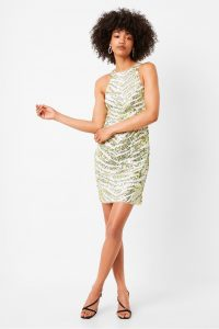 French Connection FAHRETHA EMBELLISHED BODYCON DRESS in Lime Punch Multi | sequinned dresses