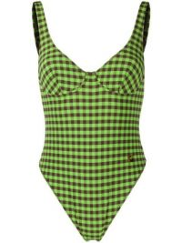 FENDI checked swimsuit / green swimwear