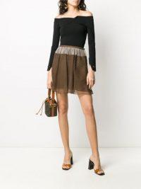 FENDI Vichy-print mini skirt in brown | sheer overlay skirts