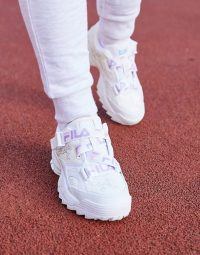 Fila Fast Charge trainers with logo strap and diamante print in white velvet | sports luxe sneakers