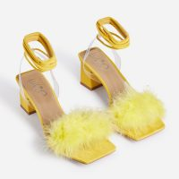EGO Finesse Lace Up Square Toe Fluffy Midi Block Heel In Yellow Faux Suede