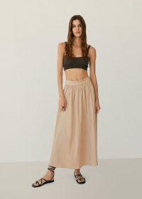 MANGO ELNA Flared long skirt – beige summer skirts