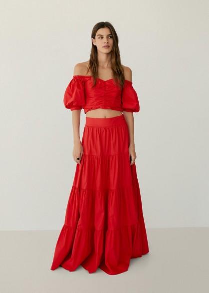 Mango TAFA Flared poplin skirt | red tiered maxi skirts
