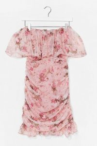 Nasty Gal Floral Ruffle Detail Off the Shoulder Mini Dress Pink