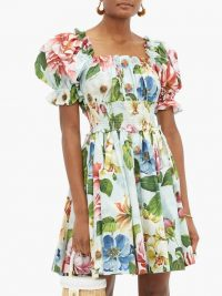 DOLCE & GABBANA Floral-print puff-sleeve cotton-poplin dress ~ summer fit and flare ~ beautiful Italian dresses