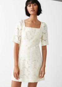 & other stories Flower Jacquard Mini Dress White / square neck dresses
