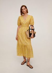 MANGO Flowers cotton dress yellow