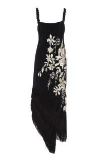 Johanna Ortiz Focus And Flower Embroidered Silk Midi Dress / lbd / fringed asymmetric hemline