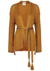 FORTE_FORTE Gold belted cardigan