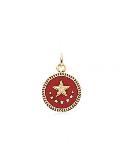FOUNDRAE Strength 18kt yellow gold charm / round diamond pendants
